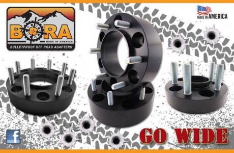 "Aluminum 1"" BORA Spacers (set 4) adapters 6x5.5 to 6x115"