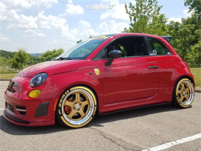 2012 Fiat 500 - 17x8.5 25mm - Work Meister S1r - Coilovers - 215/40R17