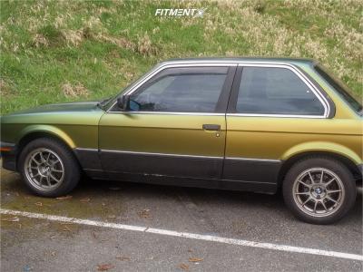 1987 BMW 325e - 15x7 25mm - WedsSport Tc-105n - Stock Suspension - 195/70R15