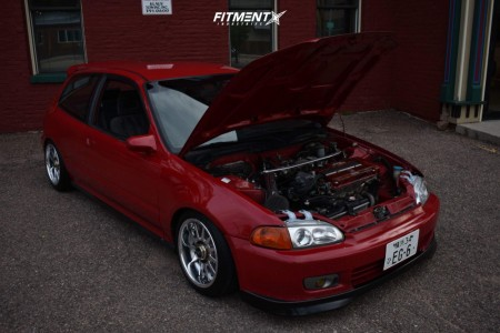 1992 Honda Civic - 15x7.5 15mm - Work Emotion - Coilovers - 175/50R15