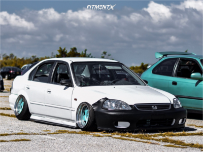 2000 Honda Civic - 15x10 -10mm - ExtremeOffsetWheels HellaClouts - Coilovers - 165/45R15