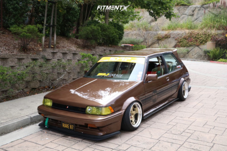 1987 Toyota Corolla - 15x9 -8mm - Work Meister S1r - Air Suspension - 195/45R15
