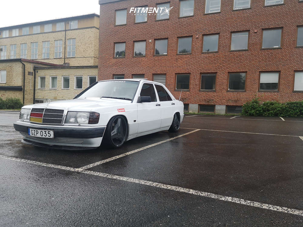 HellaFlush 1991 Mercedes-Benz 190E with 17x8 Brabus Monoblock Ll and Pirelli All Season 215/35 on Coilovers - Fitment Industries Gallery