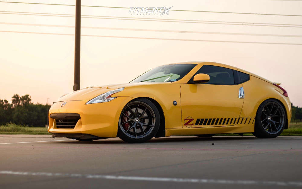 Flush 2009 Nissan 370Z with 19x9.5 ESR Rf2 and Firestone Firehawk Indy 500 245/40 on Coilovers - Fitment Industries Gallery