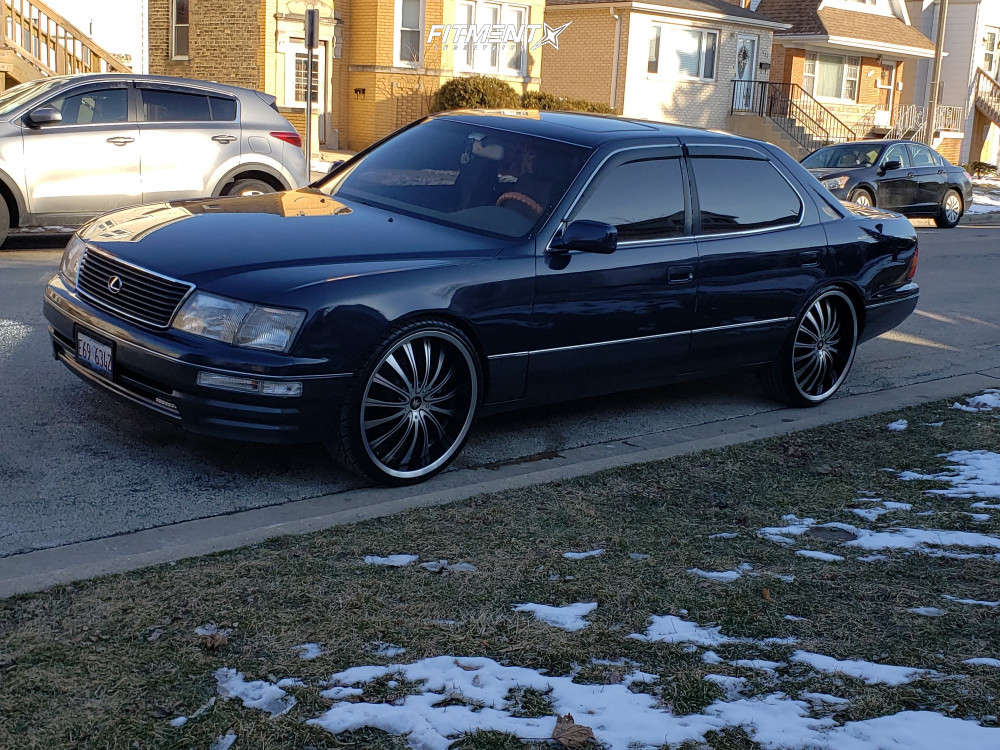 Nearly Flush 1995 Lexus LS400 with 22x8.5 Mazzi Hype and Lexani Lx-twenty 235/30 on Stock Suspension - Fitment Industries Gallery