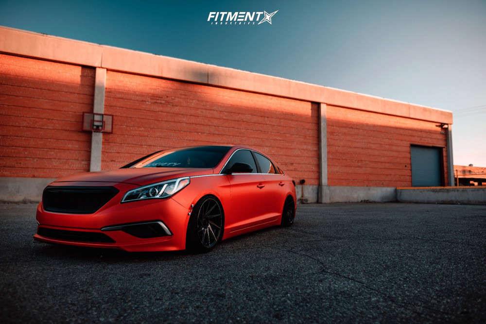 Flush 2016 Hyundai Sonata with 18x9.5 F1R F29 & Road Hugger Gt Ultra 205/45 on Coilovers - Fitment Industries Gallery
