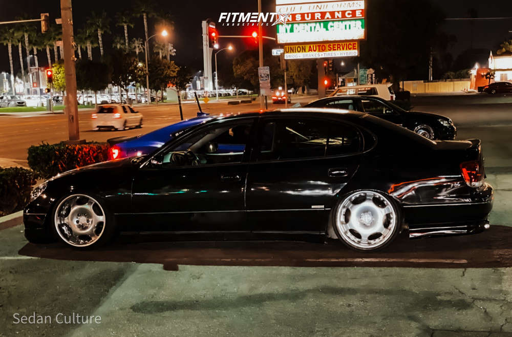 Tucked 2001 Lexus GS300 with 19x9.5 AME Shallen Lx & Delinte D7 Thunder 215/35 on Stock - Fitment Industries Gallery