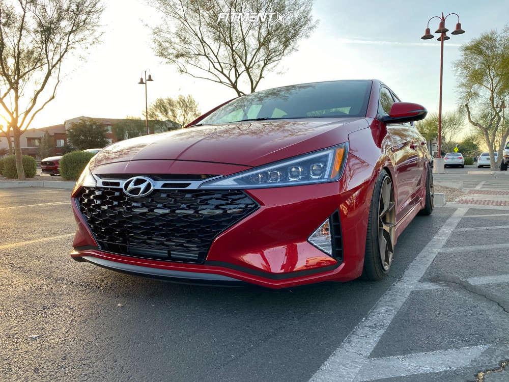 Flush 2020 Hyundai Elantra with 18x8.5 Aodhan Aff7 and Nankang As-1 205/40 on Coilovers - Fitment Industries Gallery