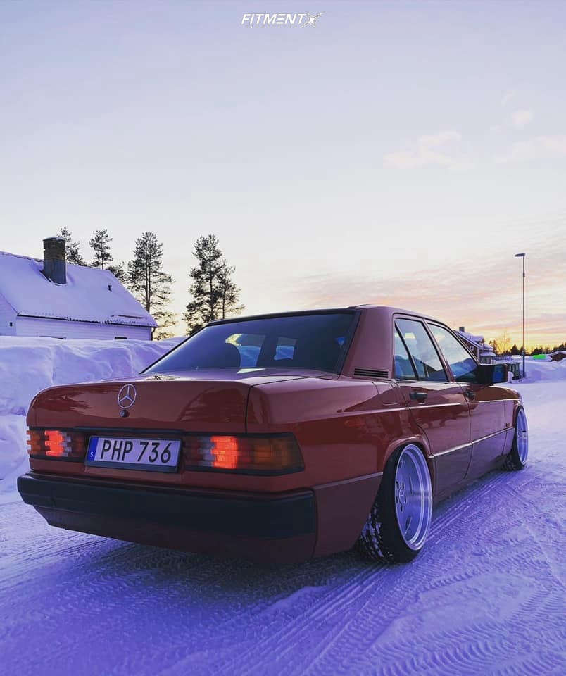 Flush 1992 Mercedes-Benz 190E with 17x8 Performa 25 and Linglong Greenmax Uhp 195/40 on Air Suspension - Fitment Industries Gallery