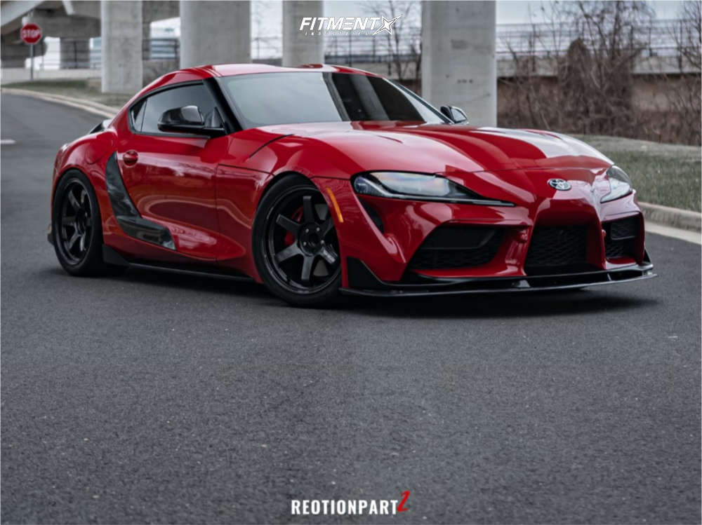 Nearly Flush 2020 Toyota GR Supra with 19x9.5 Volk Te37 Ultra & Toyo Tires Proxes R888r 265/30 on Air Suspension - Fitment Industries Gallery
