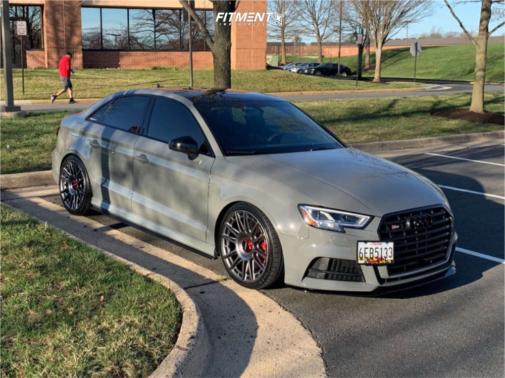 Nearly Flush 2020 Audi S3 with 19x8.5 Rotiform Ozr and Ironman Imove Gen 2 As 235/35 on Lowering Springs - Fitment Industries Gallery