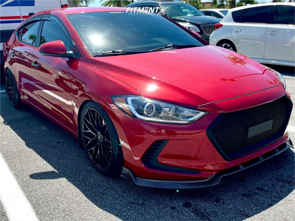 Flush 2018 Hyundai Elantra with 18x8.5 Versus Racing VS24 and Westlake SA-07 215/40 on Coilovers - Fitment Industries Gallery