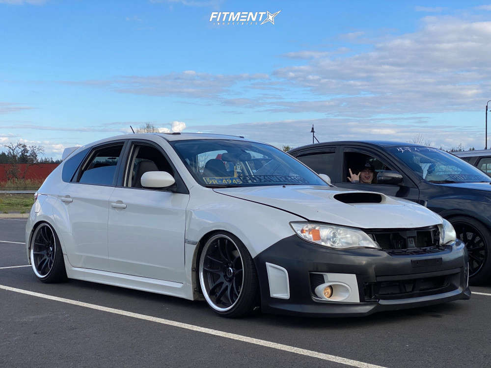 Nearly Flush 2014 Subaru WRX with 18x9.5 Work Emotion Cr 2p and Lionhart Lh-503 215/35 on Coilovers - Fitment Industries Gallery