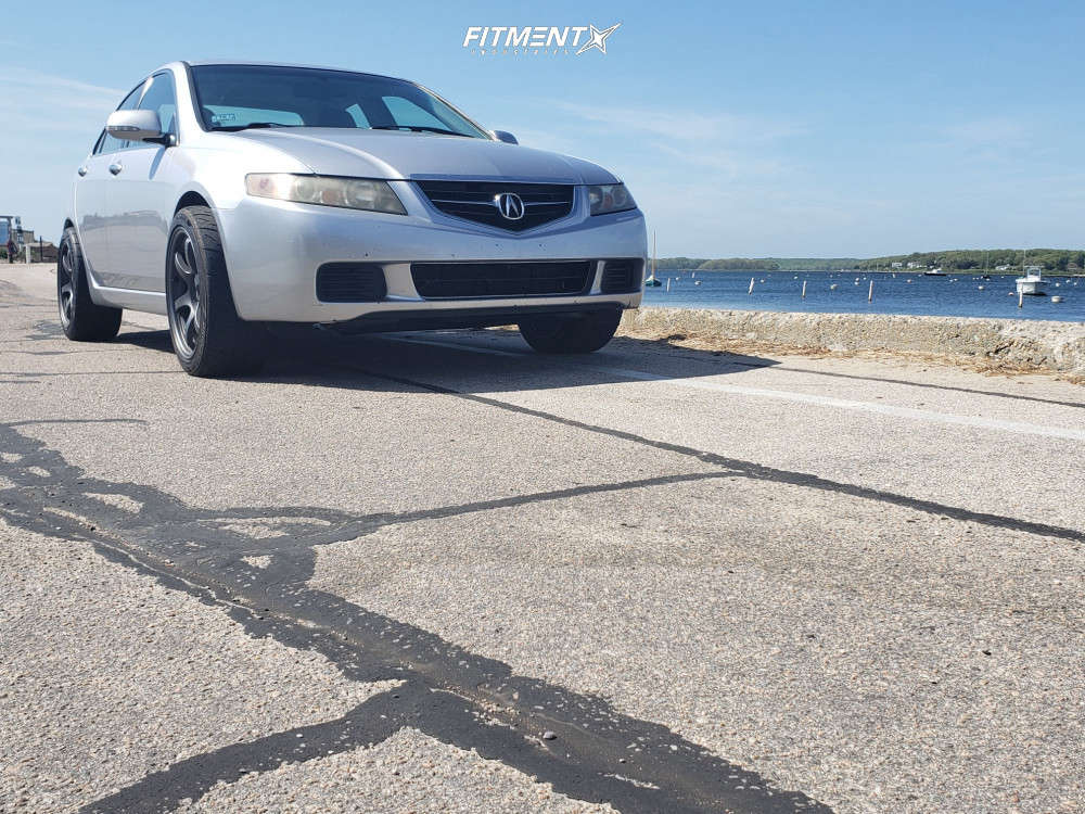 Poke 2005 Acura TSX with 18x9.5 Gram Lights 57dr & Bridgestone Potenza Re-71r 255/40 on Stock Suspension - Fitment Industries Gallery