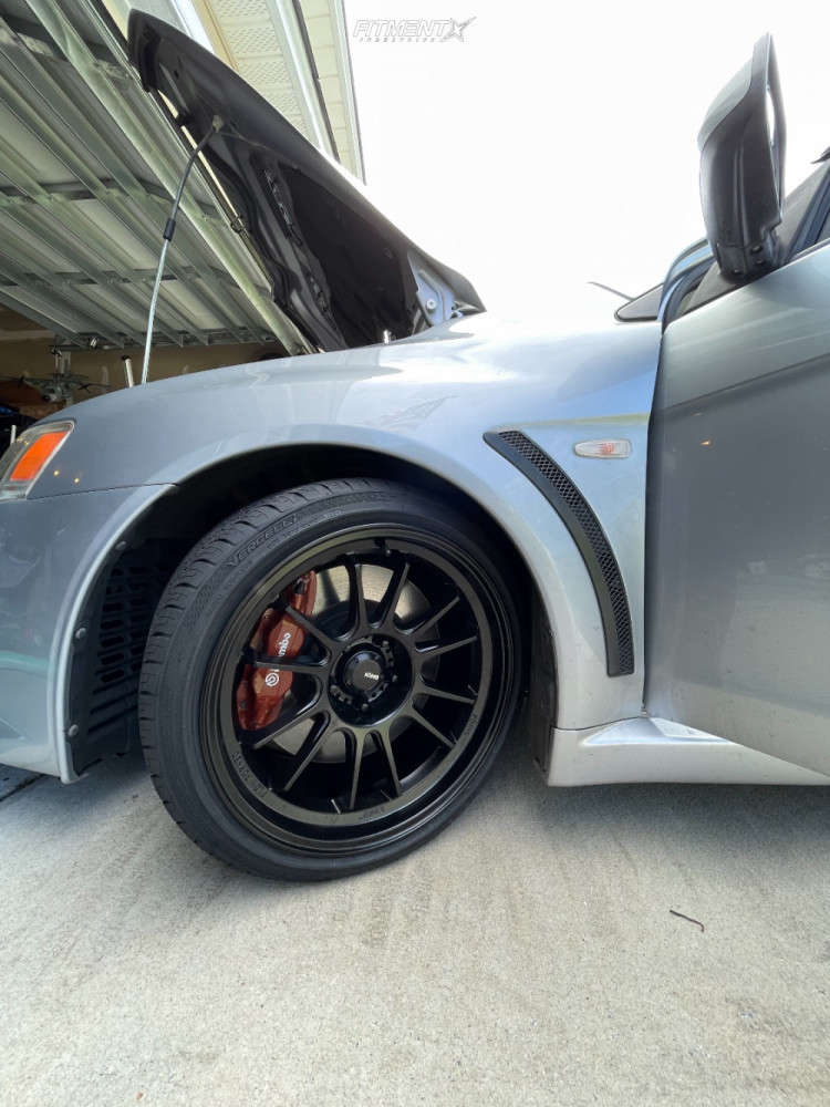 Tucked 2008 Mitsubishi Lancer with 18x10.5 Konig Hypergram & Vercelli Strada Ii 255/35 on Coilovers - Fitment Industries Gallery