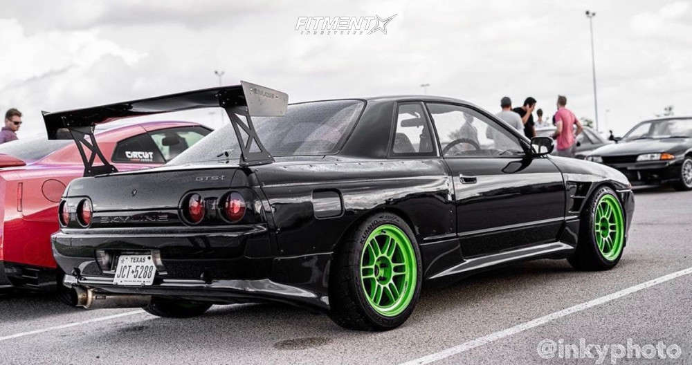 Nearly Flush 1991 Nissan GT-R with 17x9.5 Enkei RPF1 & Bridgestone Potenza Re980as 245/40 on Coilovers - Fitment Industries Gallery