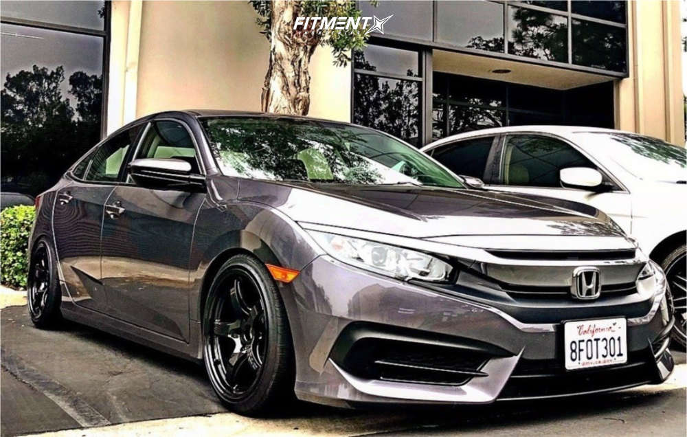 Flush 2018 Honda Civic with 17x9 Gram Lights 57cr & Lionhart Lh-four 215/40 on Coilovers - Fitment Industries Gallery