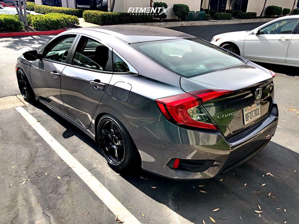 Flush 2018 Honda Civic with 17x9 Gram Lights 57cr & Lionhart Lh-four 215/40 on Air Suspension - Fitment Industries Gallery