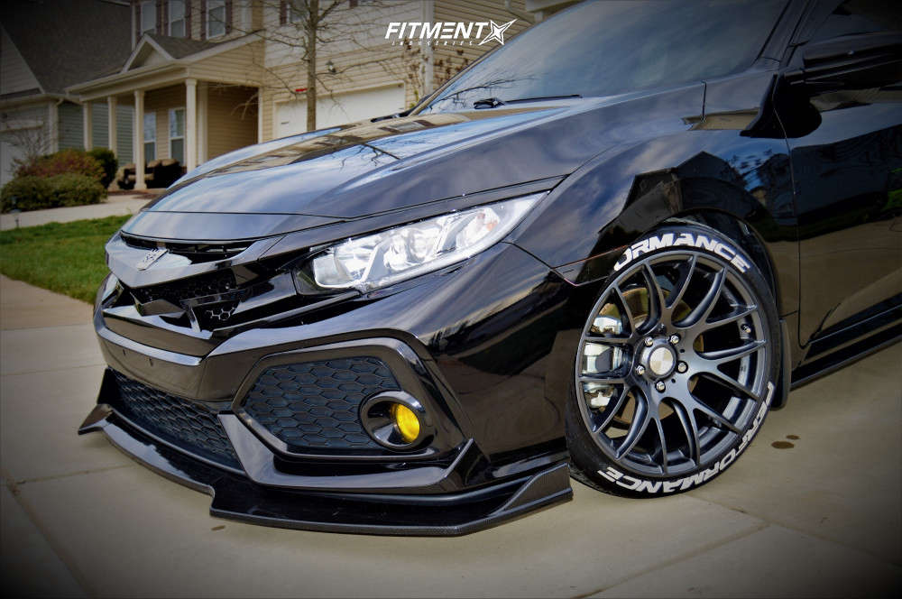 Nearly Flush 2018 Honda Civic with 18x9.5 ESR Sr12 & Continental Extremecontact Dws06 235/40 on Lowering Springs - Fitment Industries Gallery