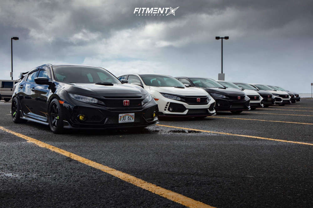 Nearly Flush 2018 Honda Civic with 18x10 Volk Te37sl & Michelin Pilot Sport 4 S 265/35 on Lowering Springs - Fitment Industries Gallery