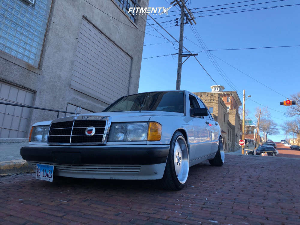 Nearly Flush 1990 Mercedes-Benz 190E with 17x8 Alzor 803 and Barum Bravuris 3 205/45 on Lowering Springs - Fitment Industries Gallery