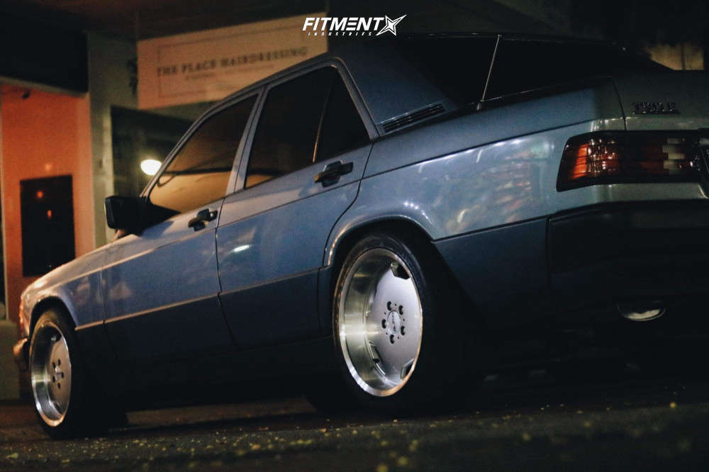 Flush 1990 Mercedes-Benz 190E with 17x8 Alzor 803 and GT Radial Adventuro M/t 215/45 on Stock Suspension - Fitment Industries Gallery