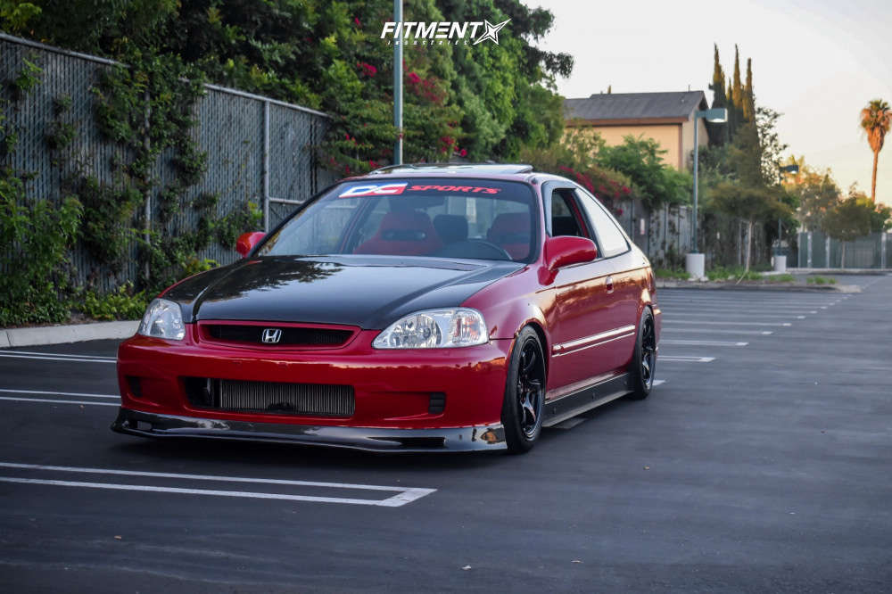 Nearly Flush 1999 Honda Civic with 15x8 Gram Lights 57DR & Federal 595 Rs-r 185/50 on Coilovers - Fitment Industries Gallery