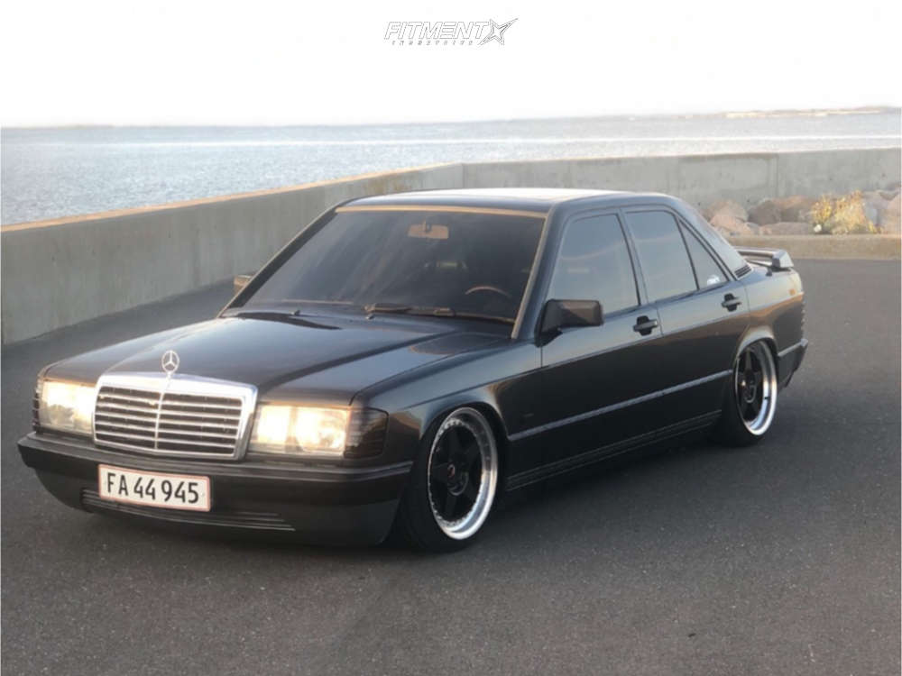 Tucked 1986 Mercedes-Benz 190E with 17x8 Japan Racing Jr6 and Continental Extreme 205/40 on Air Suspension - Fitment Industries Gallery