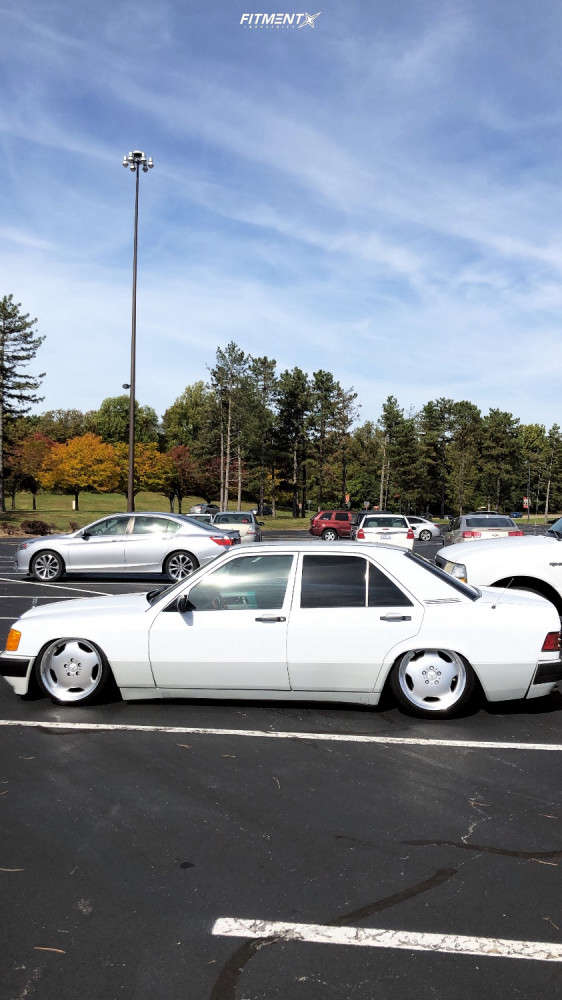 Tucked 1990 Mercedes-Benz 190E with 17x8 Alzor 803 and Ironman All Country At 205/40 on Air Suspension - Fitment Industries Gallery