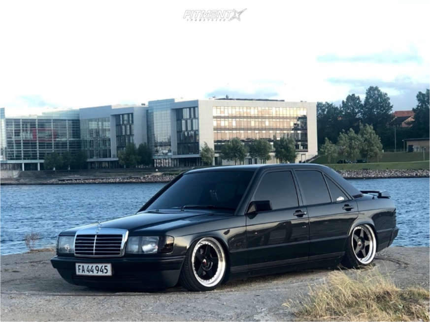 Tucked 1986 Mercedes-Benz 190E with 17x8 Japan Racing Jr6 and Dunlop Sp Sport 01 205/40 on Air Suspension - Fitment Industries Gallery