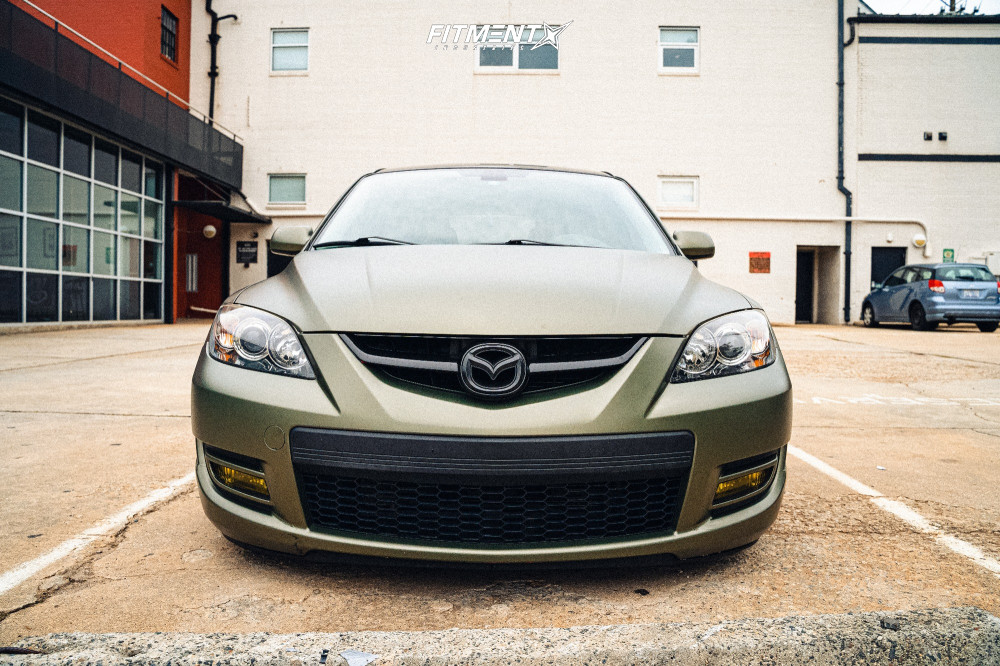Poke 2008 Mazda MazdaSpeed3 with 18x9.5 Rotiform Las-r and Federal 595 245/35 on Coilovers - Fitment Industries Gallery