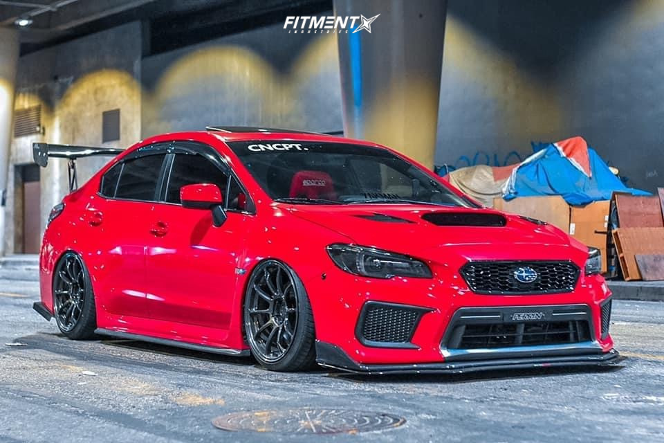 Bagged Red WRX