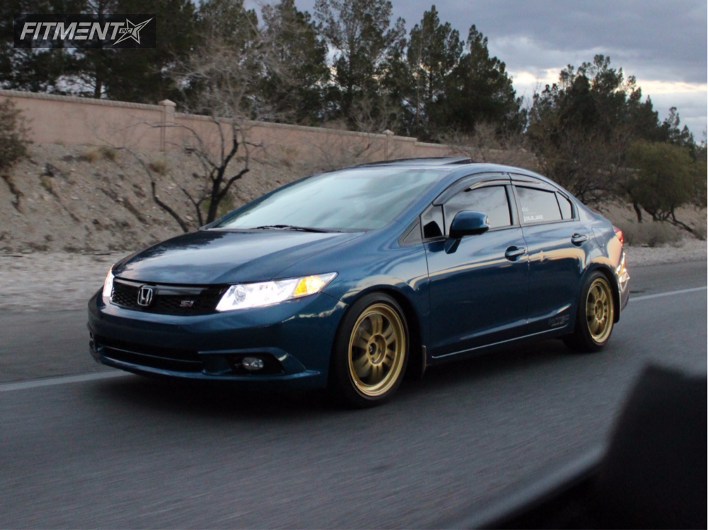 2012 honda civic enkei rpf1 eibach lowering springs for Gold honda civic