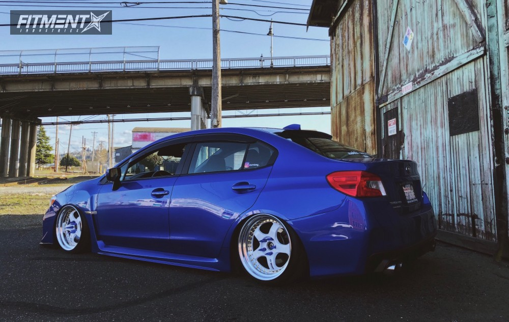 2015 Subaru Wrx Work Meister S13p Air Lift Performance Suspension Blue Sti With White Rims 1