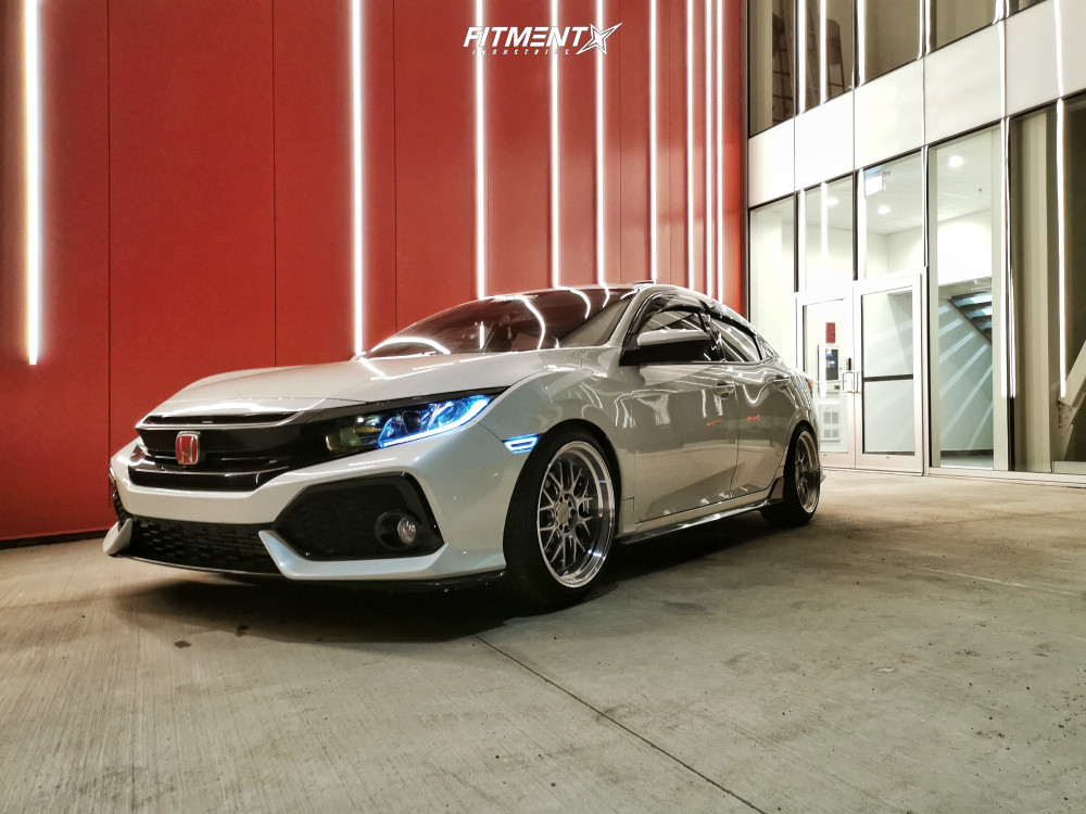 Nearly Flush 2018 Honda Civic with 18x9.5 F1R F21 and Continental Contisportcontact 235/40 on Lowering Springs - Fitment Industries Gallery